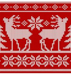 Seamless knit pattern deers vector