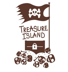 Chest with treasures and skulls design vector