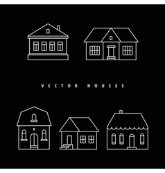 Houses set drawn white outline on a black vector