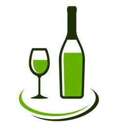 Bottle and glass of white wine vector