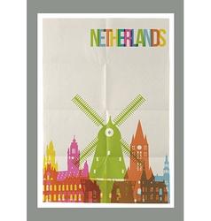 Travel netherlands landmarks vintage paper poster vector