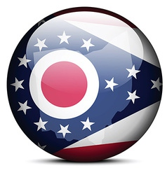 Map on flag button of usa ohio state vector