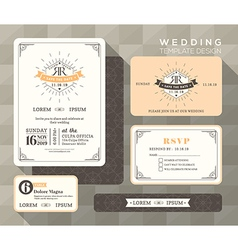 Vintage wedding set linear vector