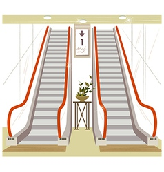 Shopping mall escalator vector