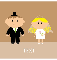 Cute wedding couple groom and bride card invitatio vector