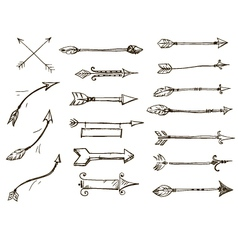 Set of doodle arrows tribal style vector