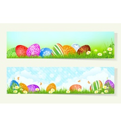 Set of two easter banner vector