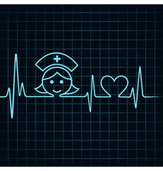 Heartbeat make nurse face and heart symbol vector