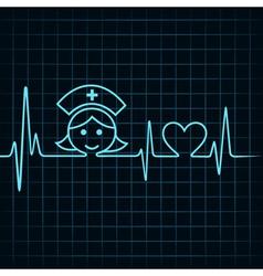 Heartbeat make nurse face and heart symbol vector