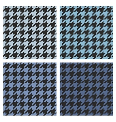 Houndstooth tile blue and black pattern set vector