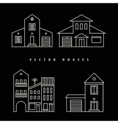 Houses set drawn white outline on a black vector