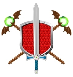 Fantasy set with shield sword nd magic staffs vector