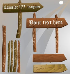 Old wooden sign set vector