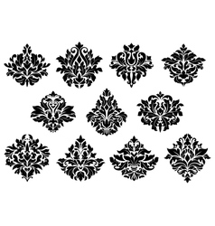 Damask floral design elements vector