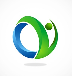 Abstract people fitness logo vector
