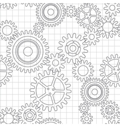 Seamless pattern of gear wheels vector