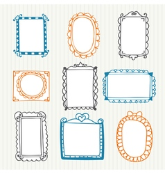 Vintage photo frames hand drawn set vector