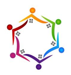 Real estate teamwork people logo vector