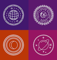 Cosmic signs and line icons vector