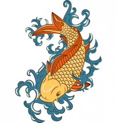 Japanese style koi carp fish vector