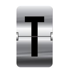 Alphabet silver flipboard letters t vector