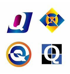 Alphabet symbols and elements of letter q such a vector