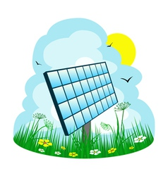 Solar panel on the meadow vector