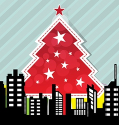 City with christmas tree vector