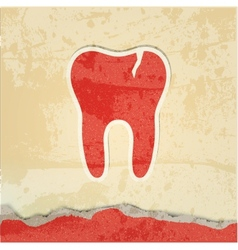 Tooth with a crack retro poster vector