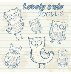 Cartoon owl stylish sticker doodle set collection vector