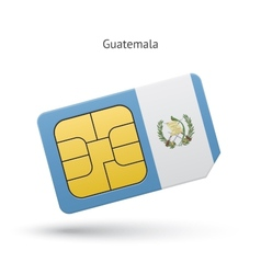 Guatemala mobile phone sim card with flag vector