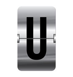 Alphabet silver flipboard letters u vector