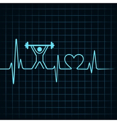 Heartbeat make lifting man and heart symbol vector