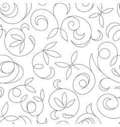 Seamless abstract black floral background isolated vector