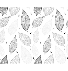 Doodle textured leaves seamless pattern vector