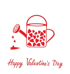 Love watering can with hearts happy valentines day vector