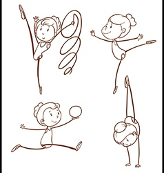 Sketches of a girl doing gymnastics vector