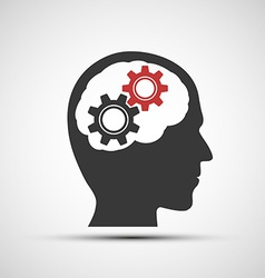 Icon of human head with mechanical gears vector