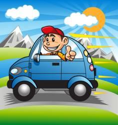 Driving happy boy vector