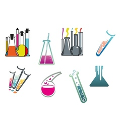 Laboratory and test tubes set vector