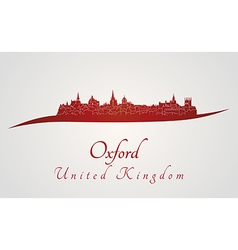 Oxford skyline in red vector