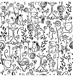 Seamless cute pattern of flora and fauna vector