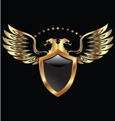 Gold eagle shield vector
