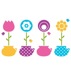 Cute spring flowers in flower pots vector