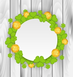 Celebration card with clovers and golden coins for vector