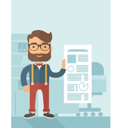 Happy man holding a paper vector