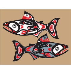 Fish - salmon - native american style vector