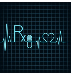 Heartbeat make rx textcapsule and heart symbol vector
