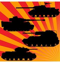Silhouettes of military equipment vector