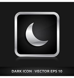 Moon icon silver metal vector